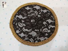 Handmade Black Lace Doily Head Cover with Gold Braided Metallic Trim (with Decorative Bobby Pin) - Bridal fashion accessories (*Amazon Partner-Link)