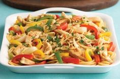 Chicken Lo Mein recipe - Stir up this version of a Chinese menu favorite with crunchy peppers and smooth, peanutty sauce. They'll love it for the flavor; only you'll know it's low-cal and low-fat.
