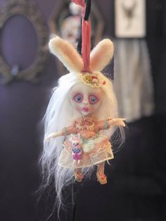Hoppie the Spring Bunny Mini Holiday Ornament hanging Art Doll