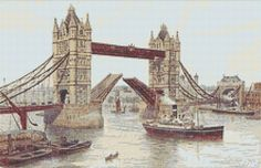 Tower Bridge Counted Cross Stitch Pattern, Instant Digital Download Cross Stitch Chart, A R Quinton, Needlework Pattern, Embroidery Pattern