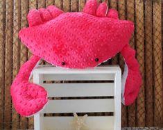 Nautical pillows, sea life plushies, novelty pillows by Fleeceofnature Nautical Baby Nursery, Nautical Cushions, Beach Cottage Decor, Etsy Shipping, Plush Animals, Watermelon, Coastal Living, Handmade, Red