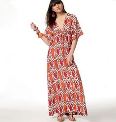 M6552 Pullover dress has self bias neck binding, loose-fitting bodice, front and back cut-in-one (no shoulder seams), raised waist with drawstring and narrow hem. #mccalls #maxidress #plussize