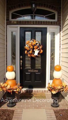 Adventures in Decorating- pumpkin decor Thanksgiving Decorations, Seasonal Decor, Halloween Decorations, Holiday Decor, Outdoor Decorations, Pumpkin Decorations, Holiday Ideas, Outdoor Thanksgiving, Holiday Quote