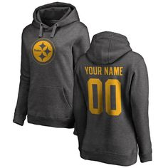 77ce61dc8 Pittsburgh Steelers NFL Pro Line by Fanatics Branded Women s Personalized  One Color Pullover Hoodie - Ash