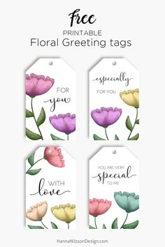 Hanna Nilsson Design – Prints and crafts Free Printable Tags, Free Printable Gift Tags, Free Printables, Thank You Printable, Labels Free, Floral Printables, Floral Watercolor, Paper Crafts, Eid Crafts