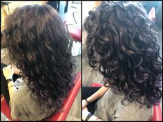 Before and after my first Deva Cut! - curlyhair Before and after my first Deva Cut! Layered Curly Hair, Fine Curly Hair, Curly Hair With Bangs, Curly Hair Tips, Curly Hair Styles, Wavy Hair 2c, Curly Girl, Medium Curly Haircuts, Short Hair