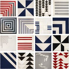 quilts by Lindsay Stead.  I especially like the bottom square, 3rd from left.