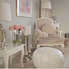 love the gray-tan and white combination with pops of pale pink and silver/pewter accents. Transition to teen My Living Room, My Room, Home And Deco, Shabby Chic Decor, Home Decor Accessories, Home Decor Inspiration, Modern Decor, Sweet Home, Room Decor