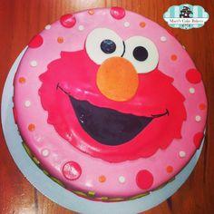 Elmo Cake...no pink background, but I like the big face...