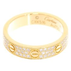 preowned cartier mini love 18k yellow gold pave diamond ring size 45 mxn liked on polyvore featuring jewelry rings yellow gold pave diamond