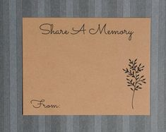 Share a Memory Card - Tree of Life - Keepsake Ideas - Memorial Service Cards - Funeral Guest Book - Anniversary Party - Family Retirement - Share a Memory Card – Tree of Life – Keepsake Ideas – Memorial Service Cards – Funeral Gues - Memorial Cards, Funeral Memorial, Memorial Ideas, Ideas For Memorial Service, Memorial Services, Beach Wedding Groom, Beach Wedding Favors, Wedding Souvenir, Memory Tree