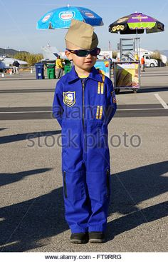Blue Angels Jr. Pilot in flight suit with sunglasses at Los Angeles, California Air Show - Stock Image