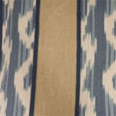 This is a blue, tan and natural Ikat stripe linen drapery fabric, suitable for any decor in the home or office. Perfect for drapes, bedding and pillows.v145