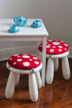 Adorable idea - simple and sweet. IKEA Hacks for Kids' Rooms: MAMMUTT stool becomes a sweet mushroom