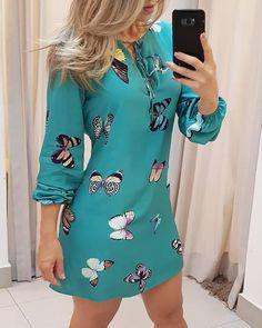 Trend Fashion, Look Fashion, Fashion Prints, Womens Fashion, Fashion 2020, Fashion Online, Ruffles, Online Dress Shopping, Dress Online