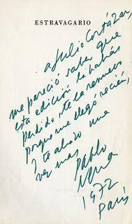 Dedicatoria de Pablo Neruda a Julio Cortazar.