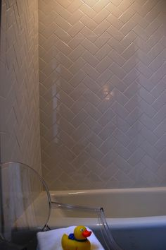 Teresa Meyer Interiors: Amazing bathroom with white porcelain drop-in tub, white subway tile shower surround in ...