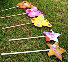 'Fairy' games : Use a wand and some glitter (fairy dust). Sprinkle the 'fairy' dust on things in the garden.