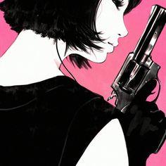 Girl wearing black & holding a  gun  cartoon art