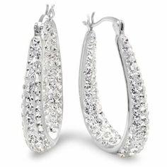 7306c5631 Sterling Silver Crystal Hoop Earrings with Swarovski Elements Amanda Rose  Collection. $45.99 Purple Earrings,