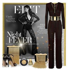 """Cindy Crawfors for ""The Edit"" in Balmain"" by sylandrya ❤ liked on Polyvore featuring kozo, Balmain, Gianvito Rossi, Lancôme, balmain, celebstyle, jumpsuit and CelebrityStyle"