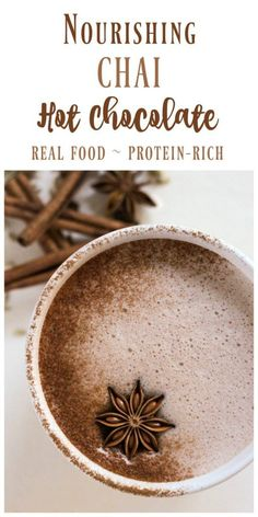 Real Food Chai Hot Chocolate is the perfect warming drink on a cold day. This hot creamy nourishing drink is protein-rich fragrant sweet and slightly spicy with hints of cardamom cinnamon fennel ginger and more. Healthy Hot Chocolate, Homemade Hot Chocolate, Hot Chocolate Recipes, Chocolate Desserts, Chocolate Smoothies, Chocolate Shakeology, Lindt Chocolate, Chocolate Drizzle, Chocolate Roulade