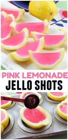 Pink lemonade jello shots using lemon peels! Fun alcoholic summer jello shots to make for a party. So cute and girly to make. Pink lemonade jello shots using lemon peels! Fun alcoholic summer jello shots to make for a party. So cute and girly to make. Party Drinks Alcohol, Alcohol Drink Recipes, Alcoholic Lemonade Drinks, Alcoholic Shots, Alcoholic Desserts, Tequila Shots, Alcoholic Drinks For Summer, Pink Party Drinks, Pink Party Foods