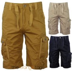 MENS PLAIN CARGO COTTON SHORTS SUMMER CASUAL MULTIPOCKET KNEE LENGTH PANTS in Clothes, Shoes & Accessories, Men's Clothing, Shorts | eBay