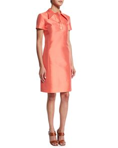 Short-Sleeve Polo Dress, Persimmon (Red) - Michael Kors