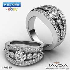 Halo Round Diamond Solid Engagement Ring GIA G Color SI1 14k White Gold 1.75ct