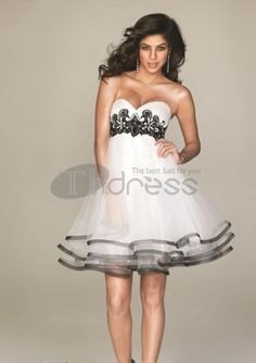 Graceful A-Line Sweetheart Short/Mini Organza Satin Short Evening Dresses