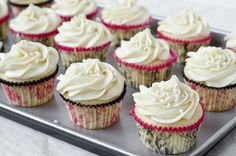 White Chocolate Cupcakes with Cream Cheese Frosting-- my favorite white cake recipe. They are so light and fluffy and the white chocolate adds a little flavor without being obvious. I love filling with raspberry jam and topping with buttercream