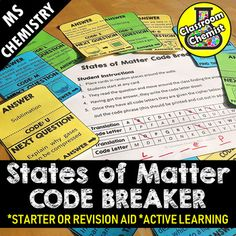Challenge your middle school students to be first to crack the code and solve this States of Matter CODE BREAKER revision activity.How to use:Place the cards around your classroom, students start at any question, find the answer on a different card, record the code letter and move onto the next card...