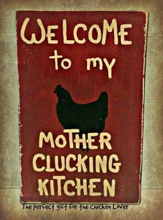 "Handmade wood sign ""Chicken Kitchen"" -  Welcome wood sign - red #Handmade #RusticPrimitive"