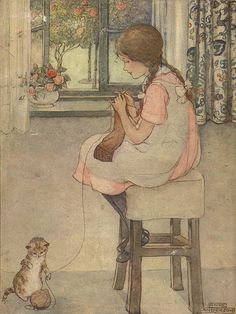 """Anne Anderson (Scottish, An illustration of a young girl knitting while her kitten plays with the yarn. From the book """"My Short Story Book"""", published by Blackie and Son, Glasgow and. Vintage Children's Books, Vintage Art, She And Her Cat, Knit Art, Sewing Art, Sewing Crafts, Children's Book Illustration, Book Illustrations, Illustration Pictures"""