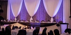 Pipe and Drape . Our staff will deliver, install and take down your pipe and drape professionally & efficiently. Wedding Reception Backdrop, Inexpensive Wedding Venues, Wedding Dj, Trendy Wedding, Wedding Backdrops, Wedding Ideas, Wedding Stuff, Stage Backdrops, Uplighting Wedding