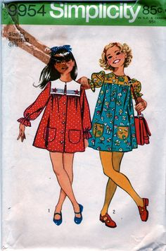 1970s Simplicity 9954 Girls Button Front Smock Dress vintage sewing pattern with sailor collar by mbchills