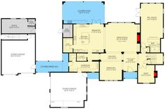 Eye-Catching European House Plan with Optional Apartment above Double Garage - floor plan - Main Level European House Plans, New House Plans, Modern House Plans, Small House Plans, House Floor Plans, Garage Door Design, Garage Doors, Apartment Plans, Apartment Ideas