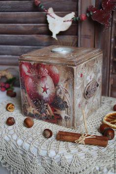 """Купить Подсвечник-короб """"Зимние узоры"""" - коричневый, Декупаж, Новый Год, подсвечник из дерева, подсвечник"""