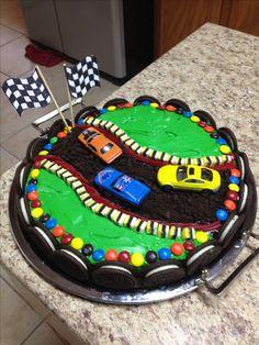 Cars Cake the road is chocolate stuffed Oreos Oreos and mms make