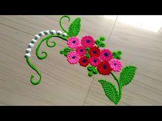 Small and daily rangoli design/rangoli designs with flowers by jyoti Rathod Rangoli Designs Flower, Small Rangoli Design, Rangoli Patterns, Colorful Rangoli Designs, Rangoli Designs Images, Rangoli Designs Diwali, Diwali Rangoli, Beautiful Rangoli Designs, Silk Painting