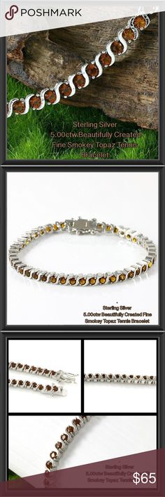Sterling 5.00ctw Smokey Topaz Tennis Bracelet -NWT Solid .925 Sterling Silver, 5.00ctw Beautifully Created Fine Smokey Topaz Tennis Bracelet   Material: Sterling Silver Condition: New Available Size: 7  - Solid .925 Sterling Silver, 5.00ctw Beautifully Created Fine Smokey Topaz Bracelet  - 7 Inches Long  - 11.4 Grams  - 5.00ctw = Carat Total Weight of Gemstones in the item. . Retail over $200.00 (selling for fraction of that!) View pictures as they are description. All sales final on…