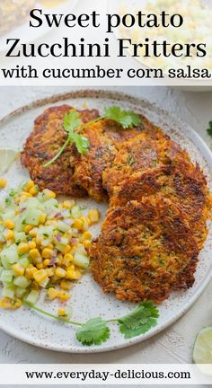 Home Made Doggy Foodstuff FAQ's And Ideas Sweet Potato Zucchini Fritters With Cucumber Corn Salsa Sweet Potato Zucchini Recipe, Sweet Potato Recipes Healthy, Vegetable Recipes, Baby Food Recipes, Whole Food Recipes, Cooking Recipes, Healthy Recipes, Sweet Potato Dishes, Sweet Potato Patties