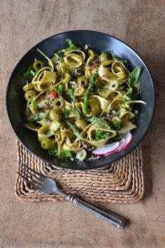 Summer Pasta Recipe: Lemon Pepper Pappardelle with Artichoke Pesto ...