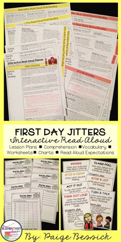 Back to school Read Aloud for First Day Jitters by Julie Danneberg. It includes lesson plans, in-depth comprehension, vocabulary, retelling worksheets and expectation charts for when you stop and interact. Great for K-2!  This resource will make planning your interactive read aloud fast and easy. It even meets the common core and is just print and go and has a template and detailed directions for printing on sticky notes. Your kids are going to love this one!