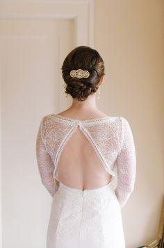 Vintage Wedding Ideas - back showcasing wedding dress with long lace sleeves