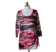 LOGO Lori Goldstein Pink Purple Green Aqua Artsy Streaked Soft Knit Top Size S