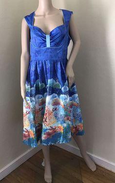 Lindy Bop Lavonne Hare Print Swing Dress L IS 10, UK 14 #LindyBop