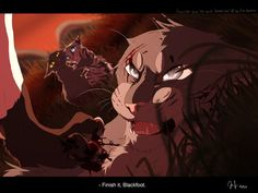 Warrior cats by Erin Hunter, art by Mizu-no-Akira. Blackfoot killing Stonefur, Stormpaw and Featherpaw watch in the background. Warrior Cat Memes, Warrior Cats Fan Art, Warrior Cats Series, Warrior Cats Books, Warrior Cat Drawings, Love Warriors, Warriors Game, Female Warriors, Comic