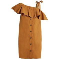 Sea Ruffle-trimmed one-shoulder gabardine dress (12.255 UYU) ❤ liked on Polyvore featuring dresses, camel, платья, brown one shoulder dress, tie dress, one shoulder ruffle dress, flutter-sleeve dresses and oversized dress